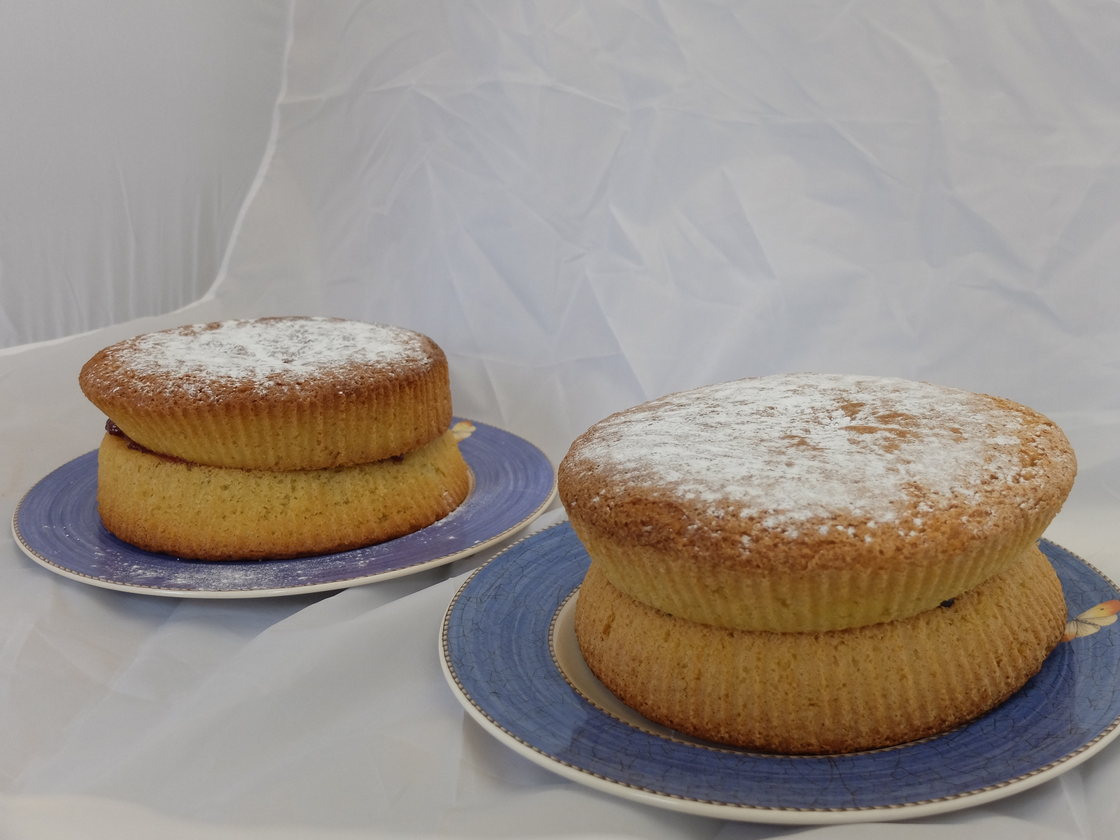 All in one victoria sponges made with rapeseed oil and butter