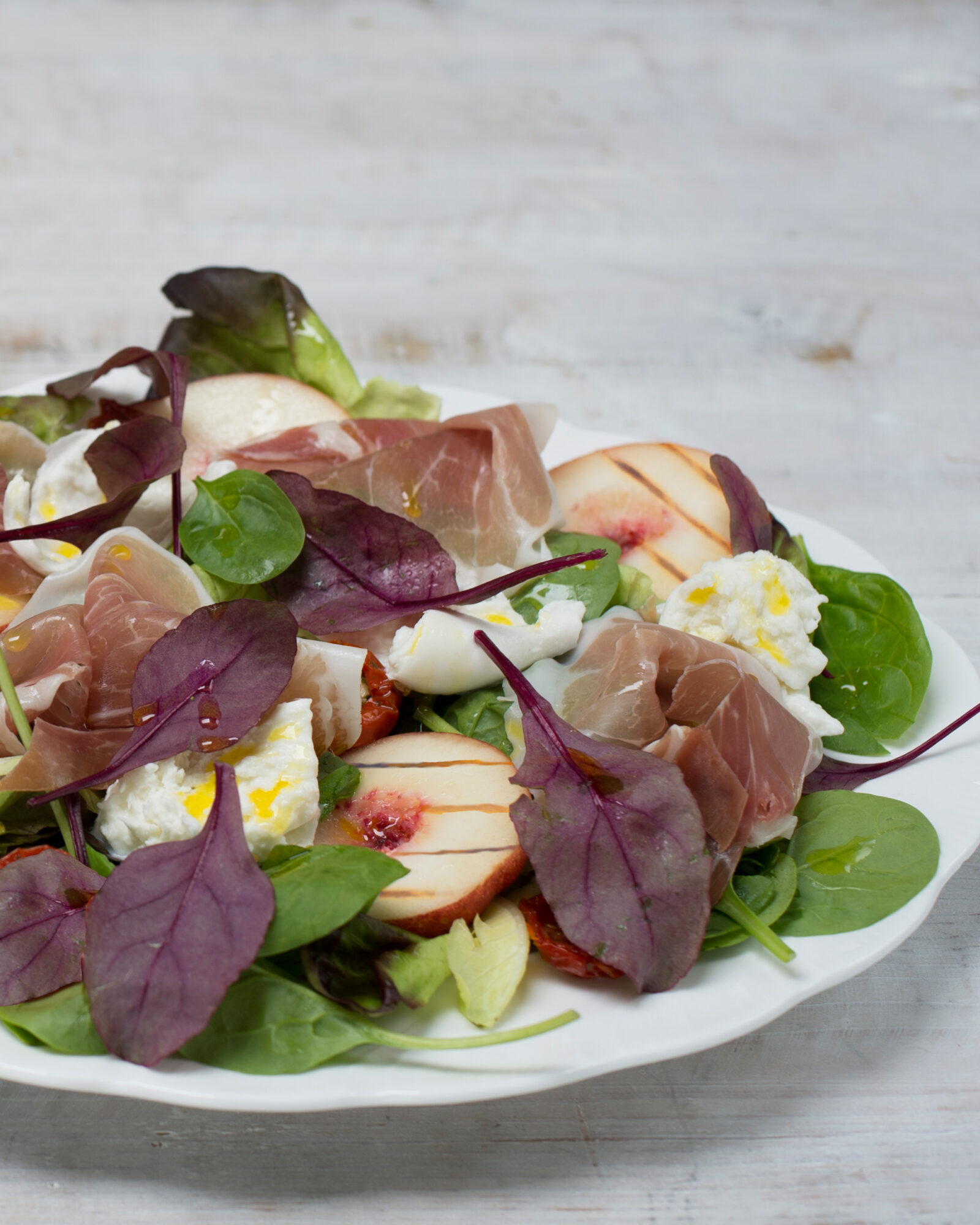 Recipe for Roast Peach, Prosciutto and Mozzarella Salad